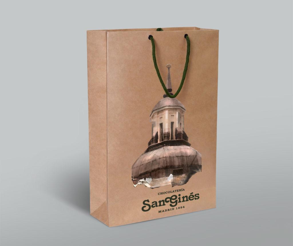 Frontal de Diseño de bolsa chocolatería San Ginés